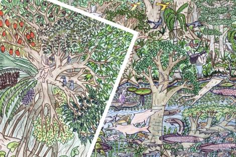 Illustraties van het merengebied Yahuarcaca - door Elkin Castillo - 750-500dpi