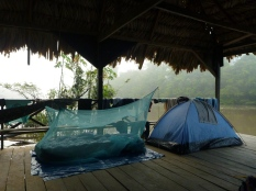 Waking up at dawn on a floating house on the river Loretayacu